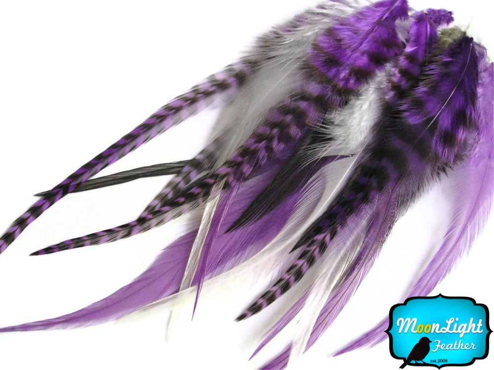RED MIX Short Grizzly Rooster Hair Extension Feathers 2 Dozen