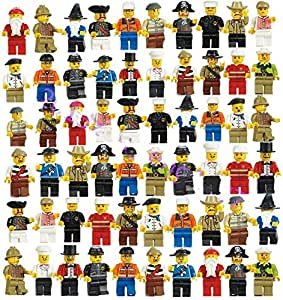 Lots 50Pcs Random Minifigs Figures Men People Minifigures Toy Grab Bag smart New, new assembled people, all of which include a body, legs/pants, head, and headgear part (hat, hair, etc.)