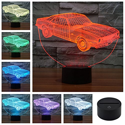 Classic Muscle Cars Crown Colorful Sport Patterns Acrylic Touch Table Lights Bar Art Decor 3D Visual USB LED Desk Lamps N127 - Classic Wall Lamp