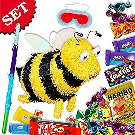 Bienen-Pinata-Set f. Spiele zum Kindergeburtstag inkl.Süßigkeiten ...