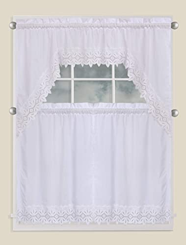 Luxury Home Collection 3 Piece Embroidered Kitchen Window Curtain Set with 2 Tiers and 1 Valance Battenburg White