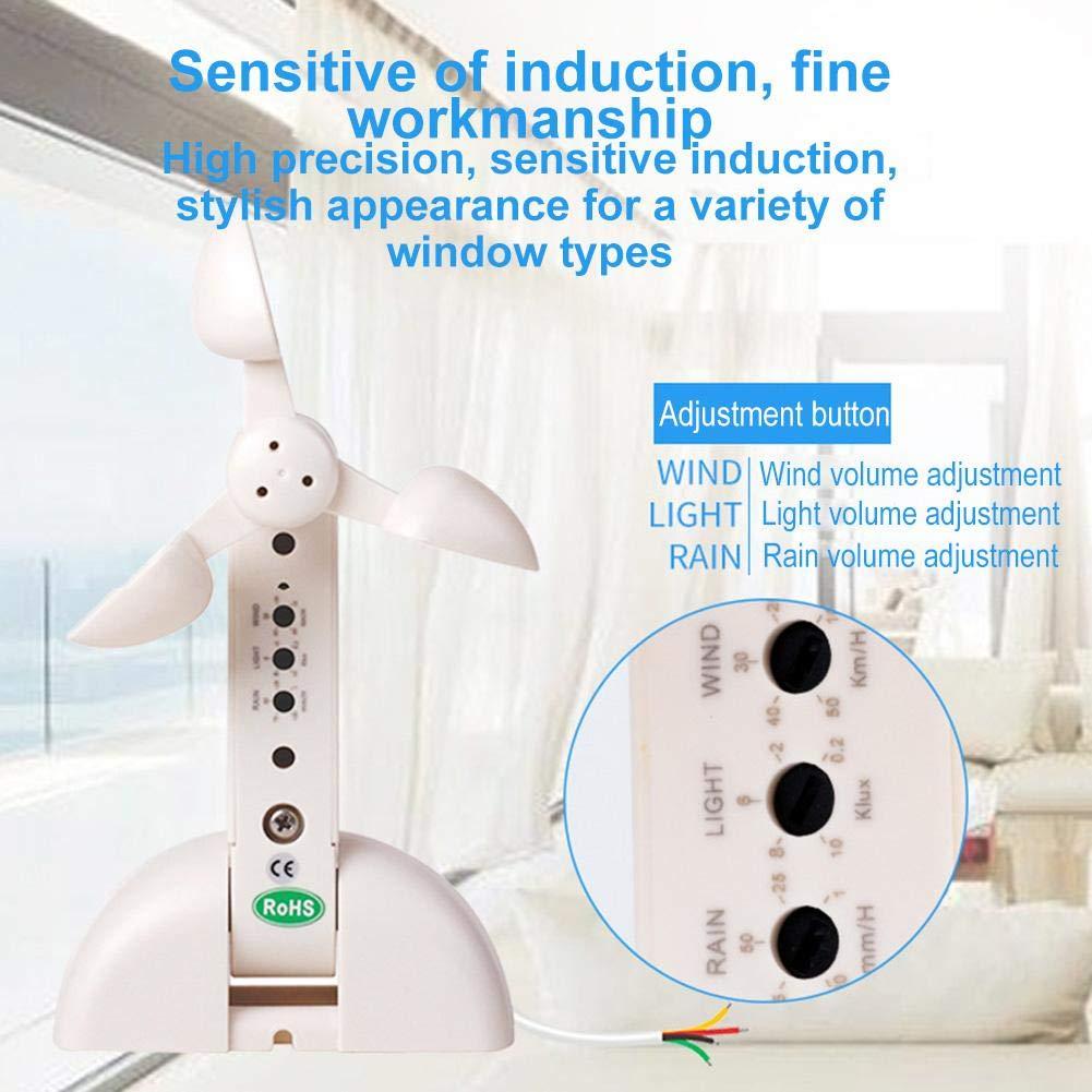 ZSLGOGO Dispositivo de Casa Inteligente Controlador de Ventana Inal/ámbrico Al/ámbrico Inteligente Sensor de Lluvia con Luz de Viento Sensor de Ventana de Apertura Autom/ática