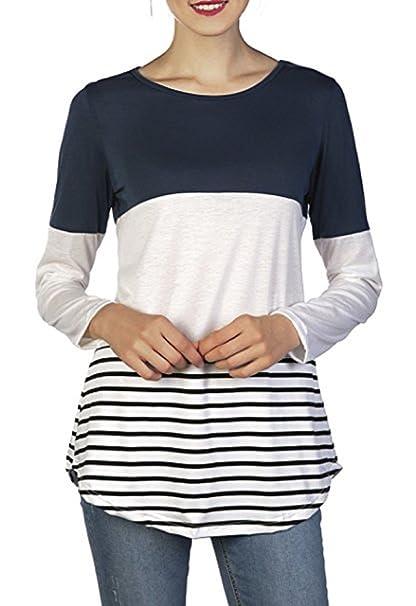 Tops T-Shirt Mujer Casual manga larga costura a rayas Slim Flexible Back Lace Bloques