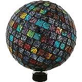 Sunnydaze Tiled Mosaic Gazing Globe Glass Garden Ball, Outdoor Lawn Yard Ornament, Multi-Colored, 10-inch