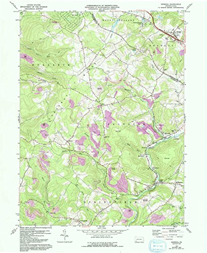 YellowMaps Donegal PA topo map, 1:24000 Scale, 7.5 X 7.5 Minute, Historical, 1967, Updated 1993, 26.9 x 22 in - - Donegal Fish