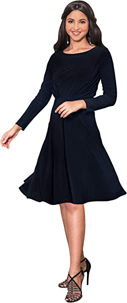 newest collection run shoes fast delivery KOH KOH Long Sleeve Semi Formal Flowy Party Work Knee Length Midi Dresses