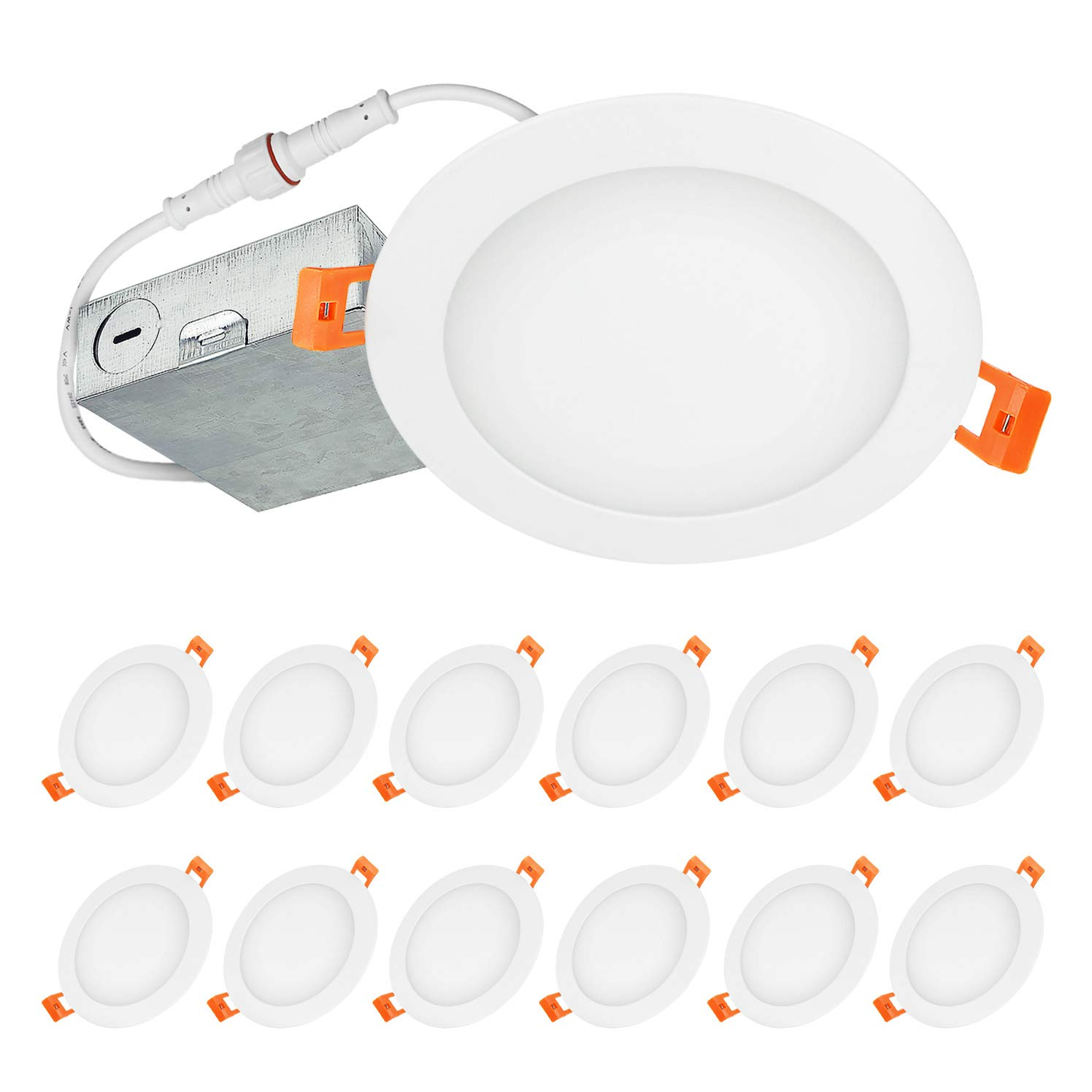 LUXTER (12 Pack) 6 inch Ultra-Thin Round LED Recessed Panel Light with Junction Box, Dimmable, IC Rated, 15W (80 Watt Repl.) 3000K Warm Light 1125 Lm. No Can Needed ETL & Energy Star Listed
