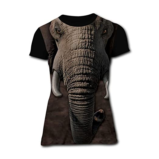 06a0a260b0bee Richelle shop Elephant face T-Shirts 3D Printed - Fashion Short Sleeve for  Women S