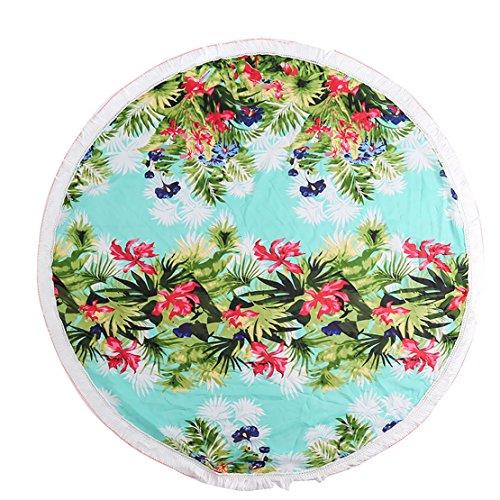 Fleur Acvip Imprimé Plage De Frange serviette Rond Tapis Bleu fleur Avec qqHU8