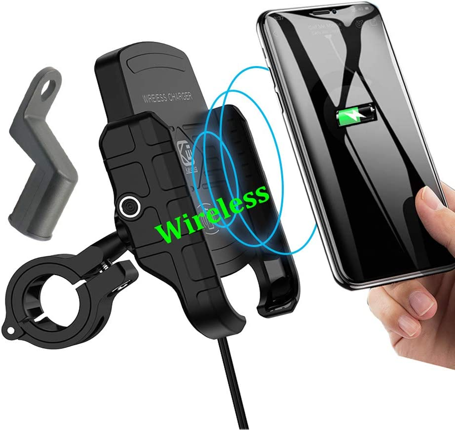 (nicht Usb) Motorcycle Phone Holder mit Wireless Charger,Buennus Motorcycle Wireless Phone Charger Mount 10W für Samsung Galaxy S10 S10+ S10E S9 S9+,7.5W für Iphone Xr Xs Max Xs X 8 8Plus (Black)
