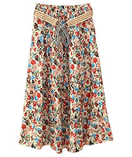 ZKOOO Bohme Mi Style t Longue Imprim Floral Haute Lache Plage Jupe Femmes Rtro Skirts Jupes 17 de lgant Taille SqAnrwWS