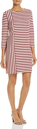 Three Dots Women's Stripe Combo Shift Mid Loose Dress