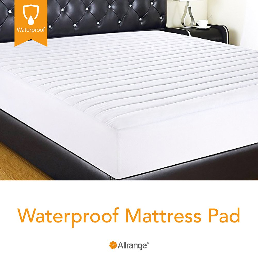 Allrange Hypoallergenic Quilted Fitted Waterproof Mattress Pad, Stretch-up-to 16