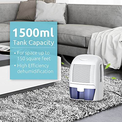 Hysure 1500ml Dehumidifier, 2200 Cubic Feet, Compact and Portable for Damp Air, Mold, Moisture in Home, Kitchen, Bedroom, Basement, Caravan, Office, Garage by Hysure (Image #4)