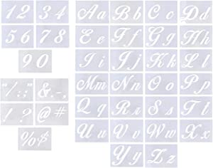 """Letter Stencils for Painting on Wood - Alphabet Stencils with Calligraphy Font Upper and Lowercase Letters - Reusable Plastic Art Craft Stencils with Numbers and Signs - Set of 36 PCs 8.27""""x5.87"""" (A)"""