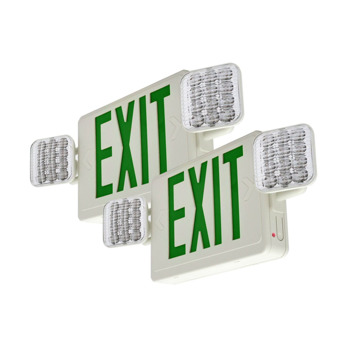 LFI Lights - 2 Pack - UL Certified - Hardwired Red Standard LED Combo Exit Sign Emergency Light - COMBOG2X2