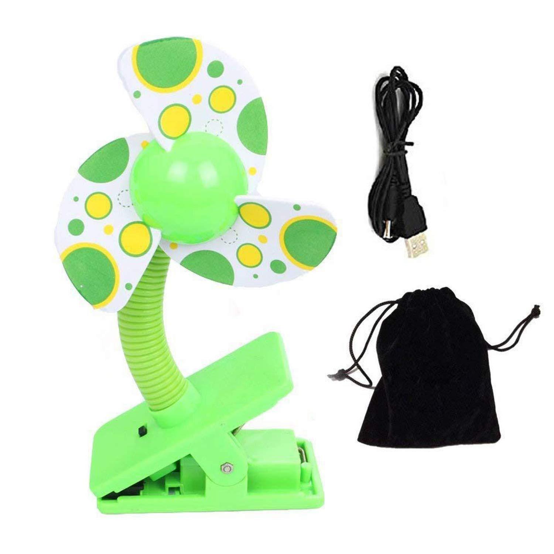 Lifehomesport Stroller Fan Portable Baby Cot USB Battery Clip Fan Baby Prams Pushchair Safety Clip on Mini Fan Green