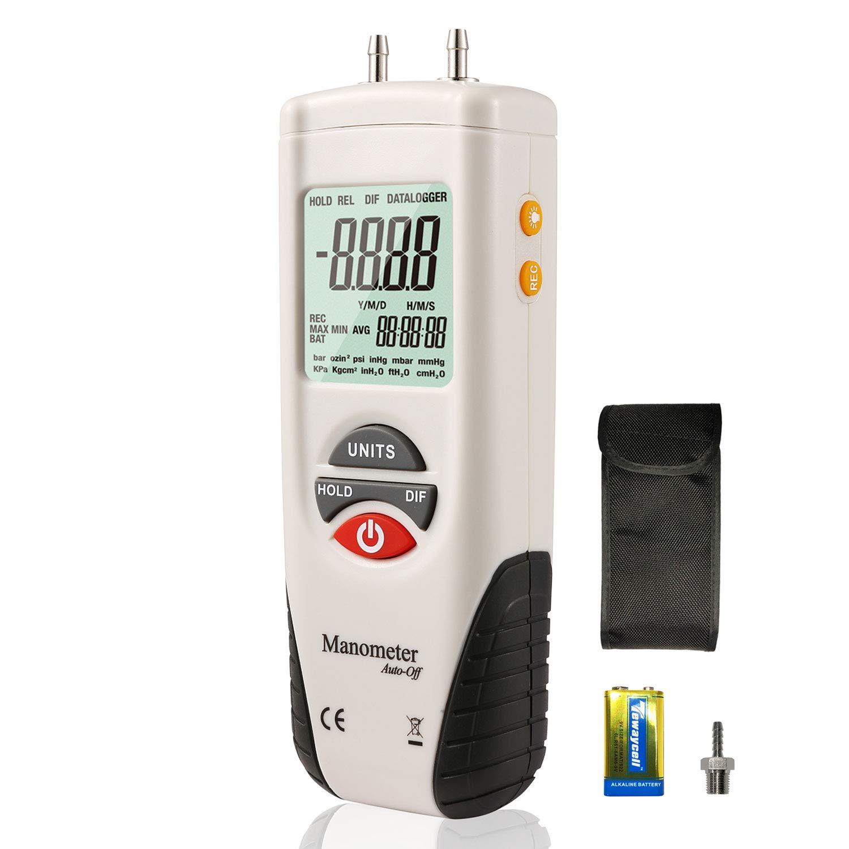 Digital Manometer, Dual Port Air Pressure Meter Pressure Gauge HVAC Gas Tester, Differential Pressure Manometer, Hti-Xintai Xintest