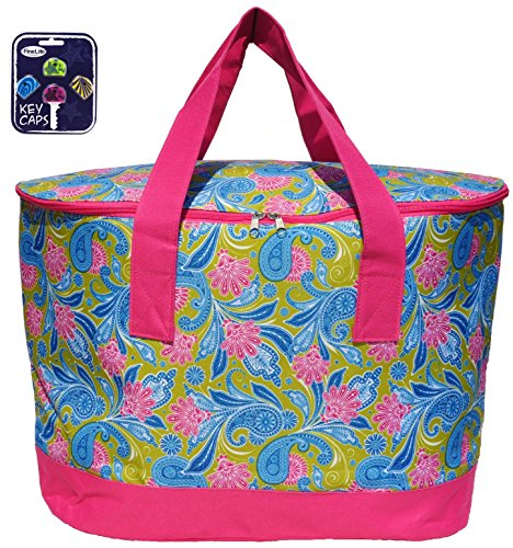 Extra Large Pink Green Insulated Picnic Lunch Reusable Grocery Bag Cooler Tote Unique Gift for Women Mom Mother in Law with Key Cap Set (Color2)