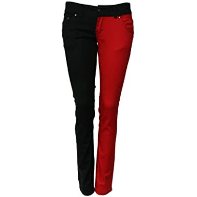 Skinny Stretch Jeans Red & Black Split Leg Low Rise Hipsters Punk ...