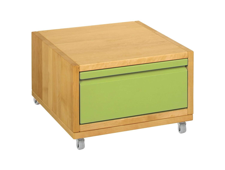BioKinder 25273 Nachttisch Nachtkästchen mit Schublade Beistelltisch aus Holz Erle 40x40x26cm, Farbe:Lindgrün