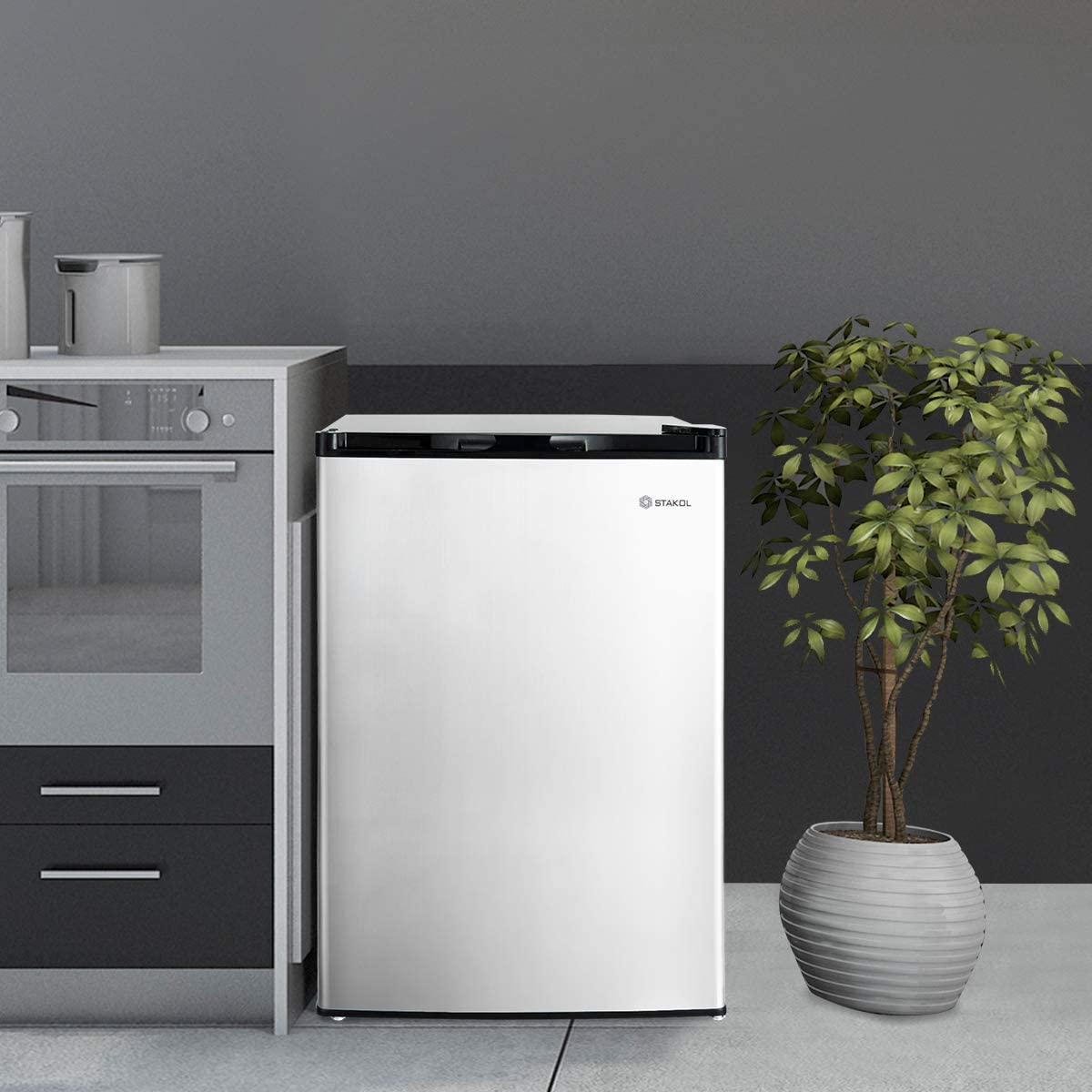 Mechanical Control Freezer with Stainless Steel Door for Home Hotel Apartment Upright Freezer Freestanding Mini Freezer with Single Reversible Stainless Steel Door with Adjustable Leg