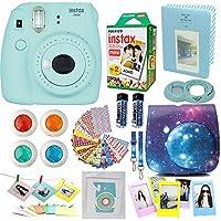 Fujifilm Instax Mini 9 Camera Ice Blue + Accessories kit for Fujifilm Instax Mini 9 Camera Includes; Instant camera + Fuji Instax Film (20 PK) + Sky Camera Case + Frames + Selfie lens + Album And More