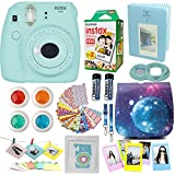 Fujifilm Instax Mini 9 Camera Ice Blue + Accessories kit for Fujifilm Instax Mini 9 Camera Includes; Instant camera + Fuji Instax Film (20 PK) + Sky Camera Case + Frames + Selfie lens + Album And More