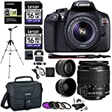 "Canon EOS Rebel T6 Digital SLR Camera Kit + EF-S 18-55mm f/3.5-5.6 IS II Lens + Pro .58x & 2.2x Lenses + Lexar 48GB Memory + 57"" Polaroid Tripod + Canon 100ES Case + Polaroid Accessory Bundle"