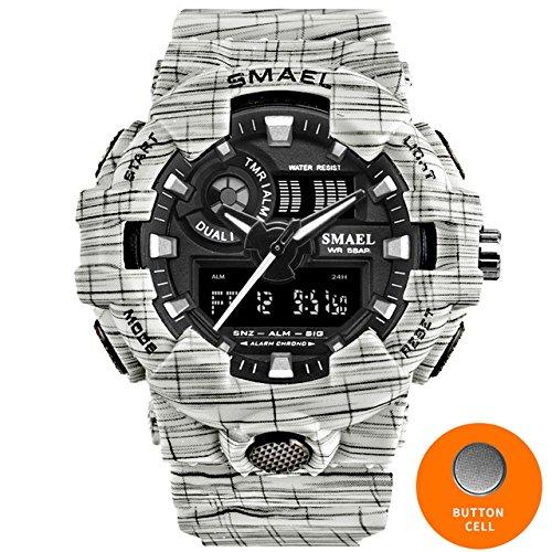 SMAEL Cowboy Sport Watch New Military Watches Army Digital Wristwatch LED 50m Waterproof Men's Watch Men Watch Brand Luxury 8001 Series (White)