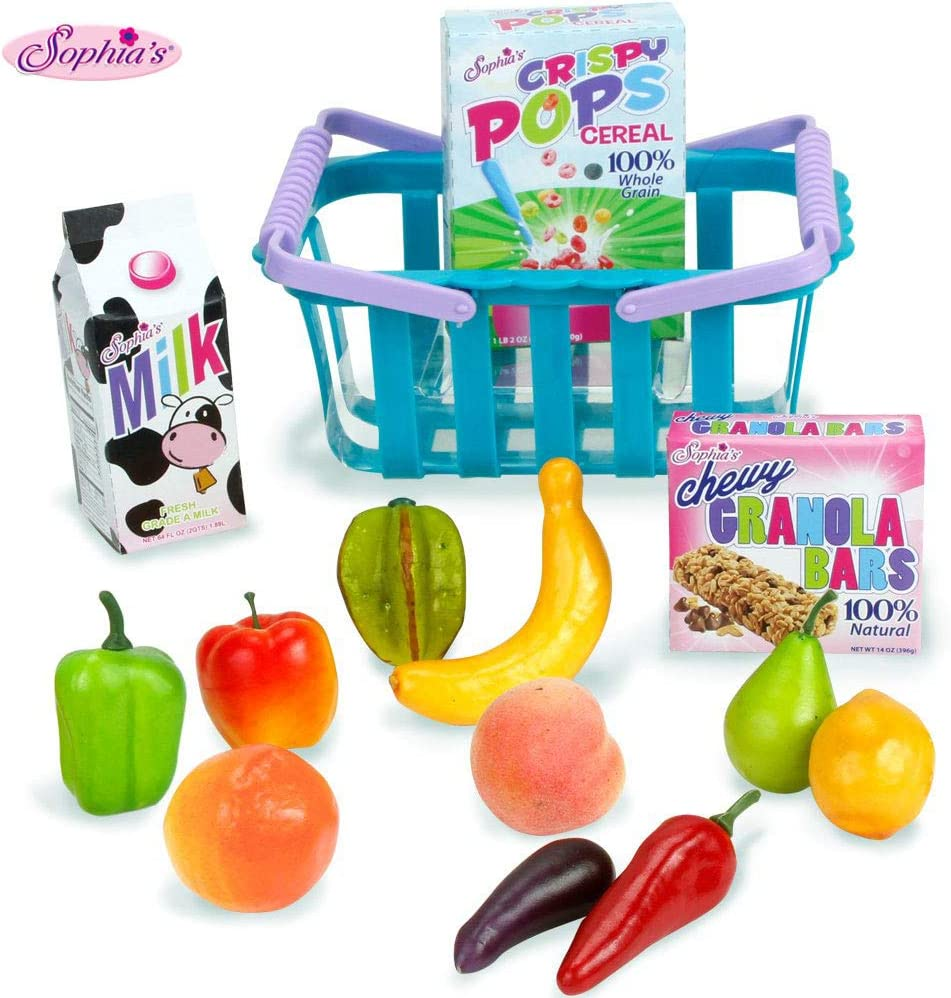 """Sophia's 18"""" Doll Sized Grocery Shopping Basket & Food Set 14Piece Grocery Set for Dolls"""