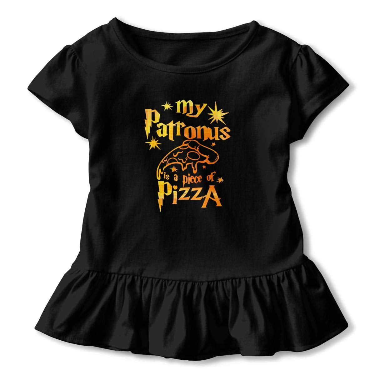 CZnuen Or Maybe Your Patronus is Pizza Baby Girls Round Neck Short Sleeve Ruffle T-Shirt Top