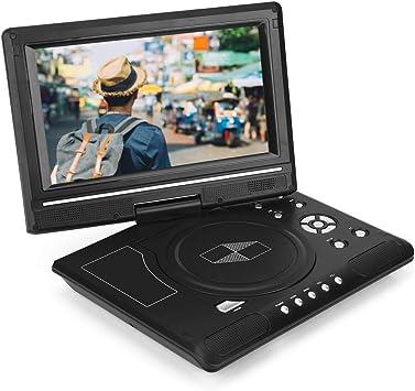 Diyeeni Reproductor de DVD, Portátil HD de 9,8 Pulgadas Pantalla LCD Giratoria Compatibilidad con Tarjeta SD CD USB, Reproductor de TV para Juegos, Receptor de Radio FM(UE): Amazon.es: Electrónica