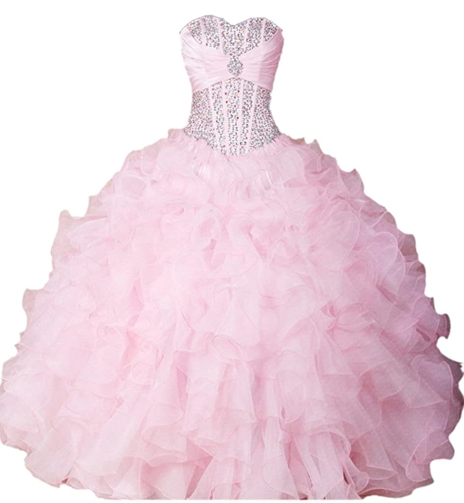Pink APXPF Women's Full Length Organza Formal Prom Dress Princess Party Ball Gown