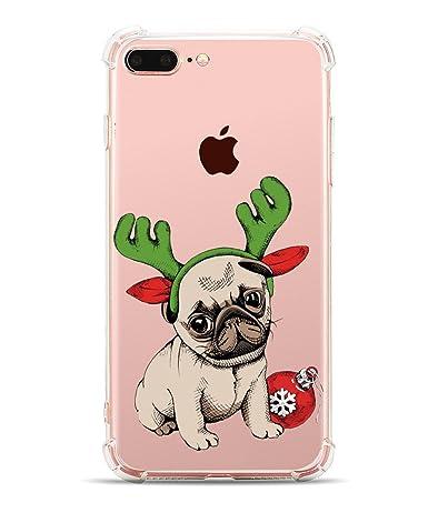 more photos 2d2bb 1cda8 iPhone 7 Plus Case Cute Pug iPhone 8 Plus Case Hepix Clear Dog Pattern TPU  iPhone Case Soft Bumper Shock Absorption Slim Protective Cover Case [5.5 ...
