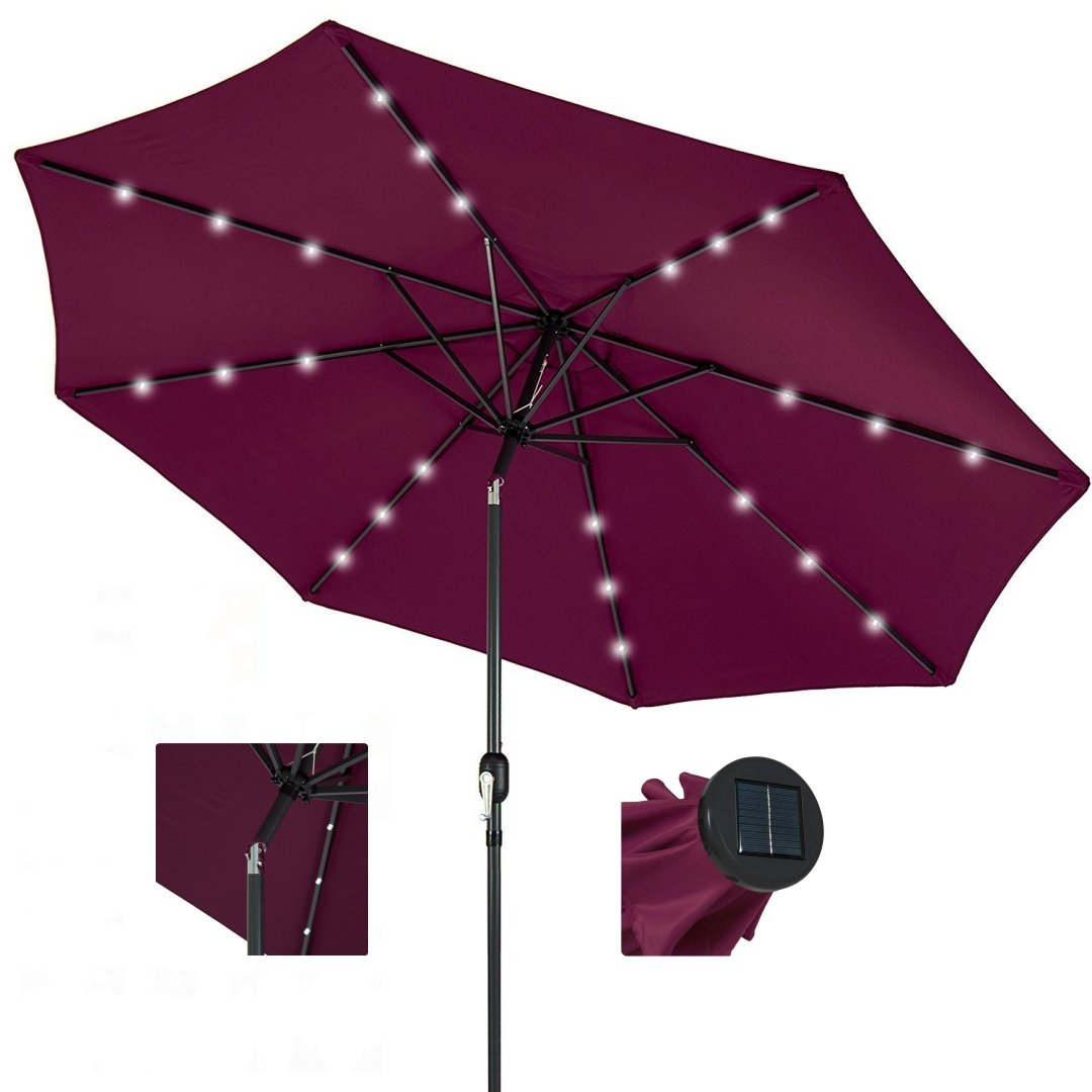 10ft Outdoor Patio Aluminium Umbrella Sunshade UV Blocking Pre-installed Solar Power LED w/Hand-Crank and Tilt System - Burgundy #1901