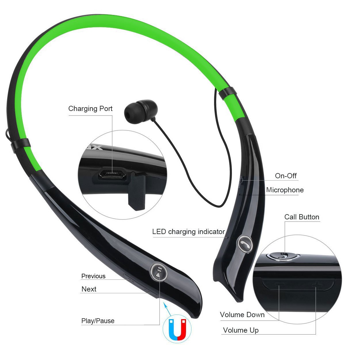 Wireless Headphones, Bluetooth Earbuds Neckband Magnetic Headset Stereo Hand-free Sports In-ear Noise Cancelling Earphone with Mic for iPhone 8/7/6 Samsung and Other Bluetooth Devices by Havan (Green)
