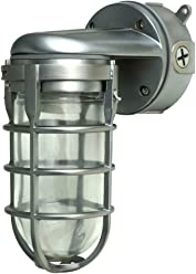 Woods L1707SV Traditional 150W Incandescent Weather Industrial Light, Wall Mount, Silver