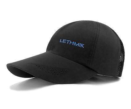 LETHMIK Waterproof Running Hat Outdoor Sports Performance Strapback Sun Cap  Black 1670be76bbb