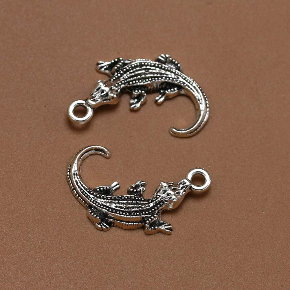 TENDYCOCO Colgantes de cocodrilo Gecko Forma Colgantes Encantos Joyer/ía de Bricolaje Haciendo Accesorio para Collar Pulsera 20pcs Plata Antigua