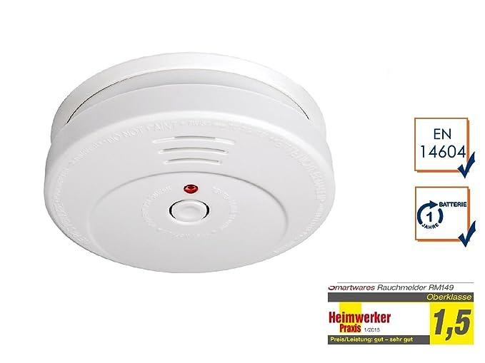 Garza Power color Blanco Bot/ón Test Detector de Calor contra Incendios con Alarma de Seguridad de 85dB