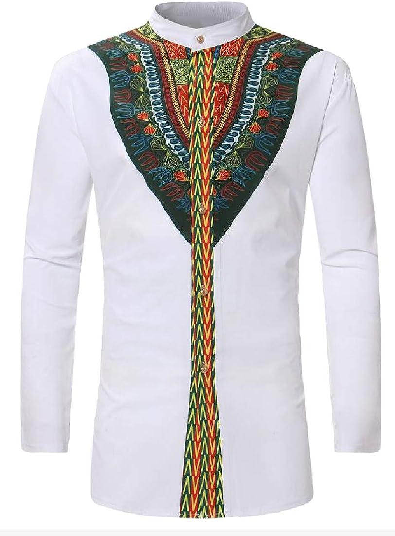 Comaba Men Dashiki African Regular Fit Thigh-Length Casual Shirts