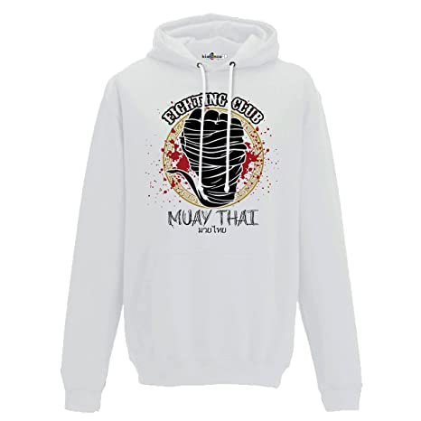 KiarenzaFD Sudadera Capucha Hombre Fighting Club Muay Thai Sport Boxeo Clinch Combate 1, Arctic White