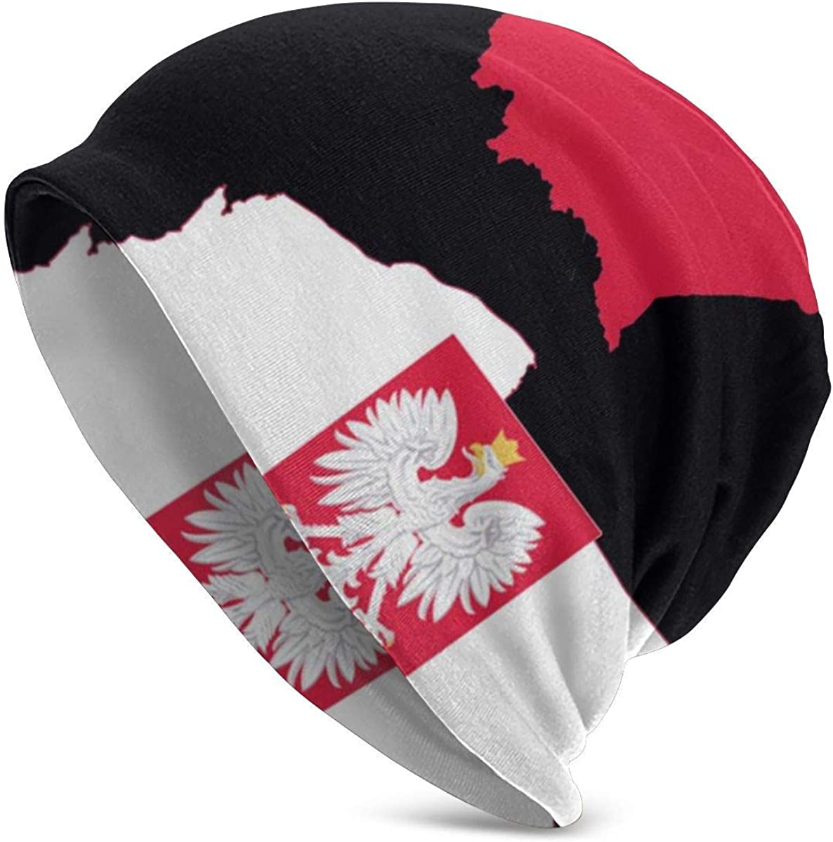 Lsjuee para hombre mapa de Polonia bandera polaca gorro hombres mujeres Unisex suave con puños lisos gorro de punto de calavera gorro de punto diario