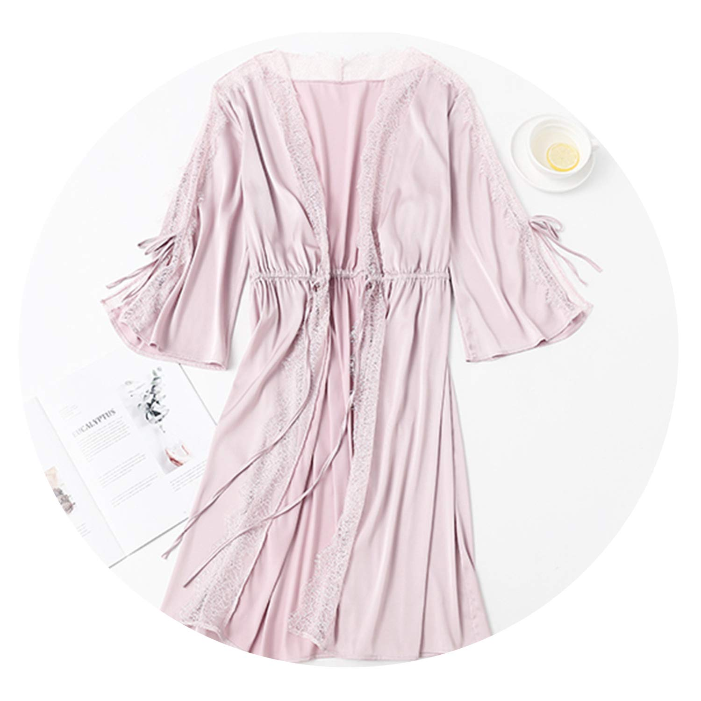 Pink AREBULEbathrobes Short Satin Bride Robe Lace Kimono Women Sleepwear Summer Bathrobe Lingerie