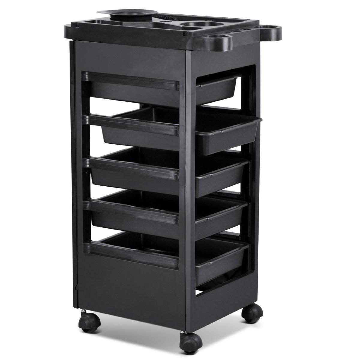 Hair Salon Rolling Trolley Storage Cart w/ 5-Drawer Workstation by Generic 12TRL001-5D1T-06