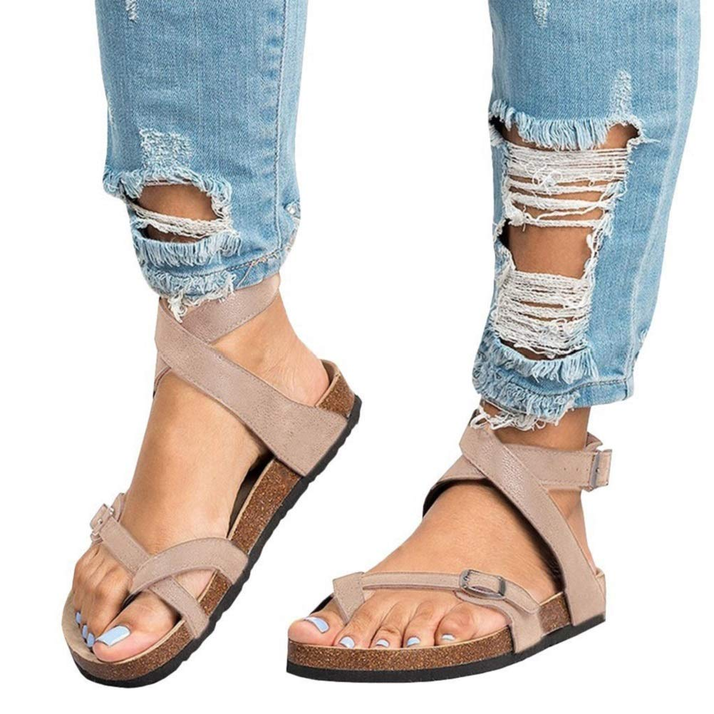 f3fba21fc14260 Womens Sandals Flat Summer Ankle Buckle Thong Flip Flop Platform Leather  Casual Shoes Strappy Sandal Open Toe Black Brown Beige 35-43  Amazon.co.uk   Shoes   ...