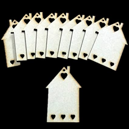 ZSL 10pcs Wooden Laser Cut MDF Houses With Hearts Shapes Craft Blank Plaque  Signs Card Making 3mm Thick, Ideal For Scrapbooking, Gift tags, Christmas,