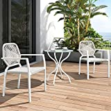 Cheap 3 Piece All-Weather Outdoor Bistro Set, Indoor and Outdoor Bistro Table and Chair Set, Resin Wicker Outdoor Patio Furniture Dining Set