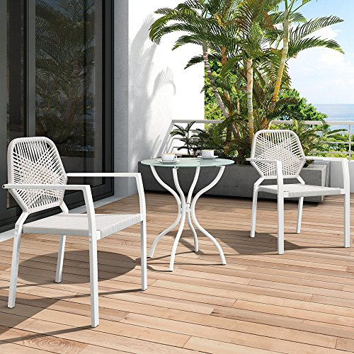 3 Pcs All-Weather Outdoor Bistro Set, Resin Wicker Outdoor Patio Furniture Dining Set, Indoor and Outdoor Bistro Table and Chair Set (Beige) (Patio Furniture Toronto Sale)